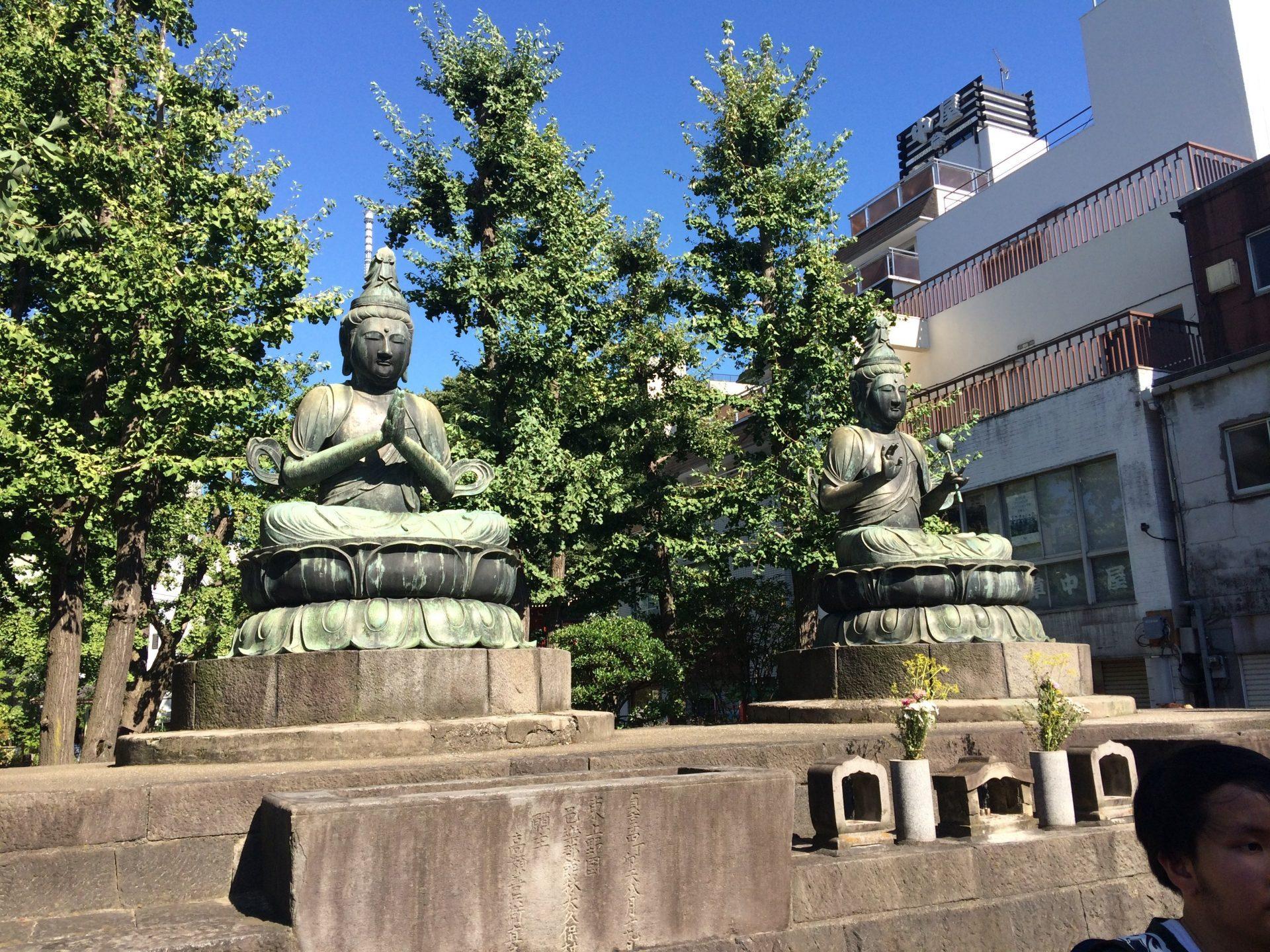 Two Buddha statues at Senso-ji temple