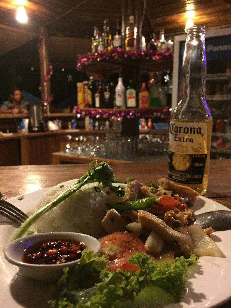 My dinner at Nature Beach's bar