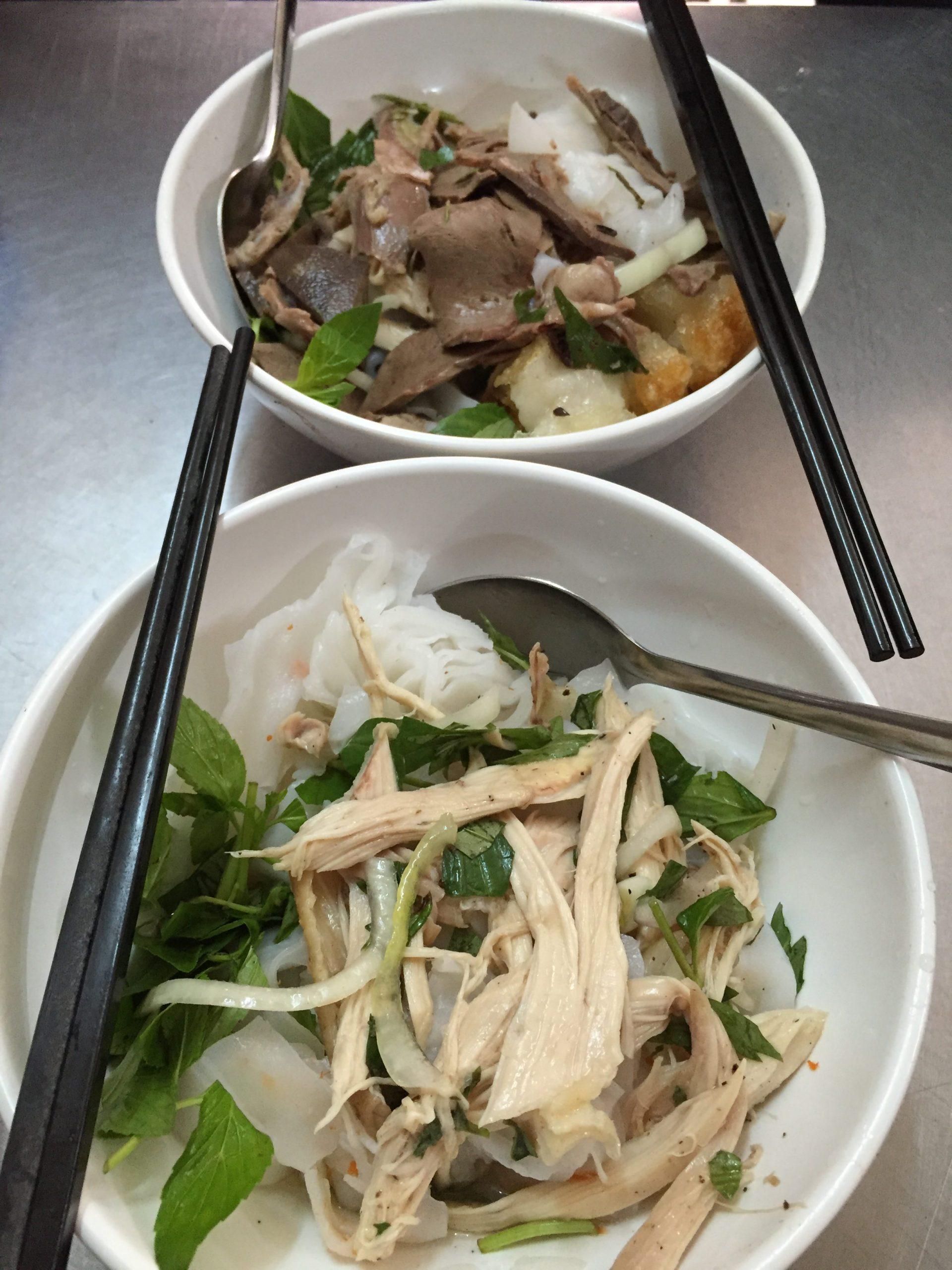 2 bowls of Bánh Ướt Gà and Bánh Ướt Lòng Gà.