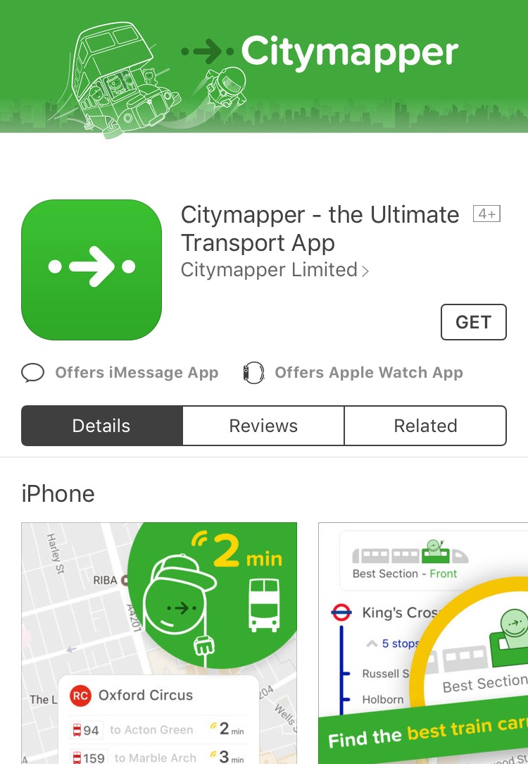 Citymapper offers maps of over 30 countries in your pocket