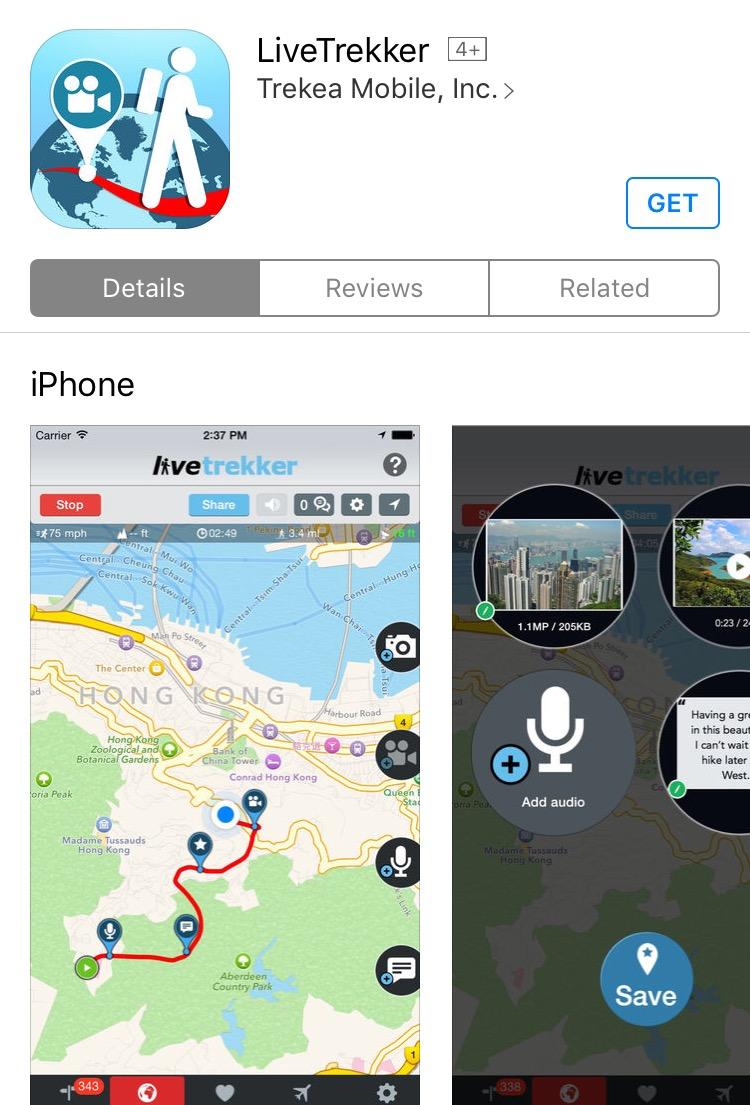 LiveTrekker is a great app for adventure-seeking travellers