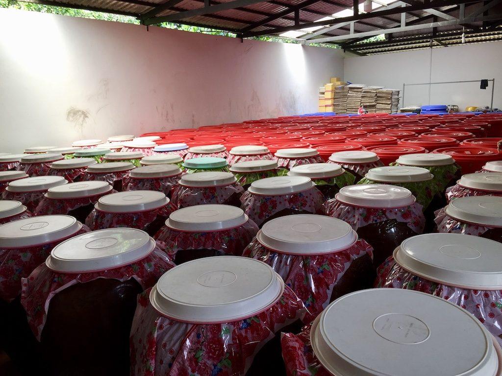 Sim liquor is distilled in barrels at a manufactory, Phu Quoc Island, Vietnam