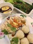 'I enjoyed a very special ball rice with boiled chicken, caramelized egg, and fried bok choy with garlic'