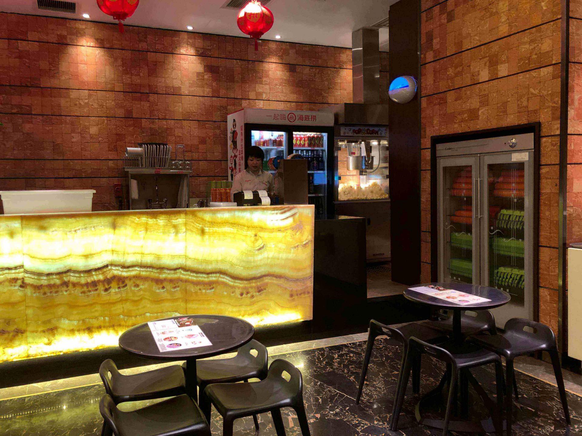 the drink bar for waiting customers at Haidilao Singapore