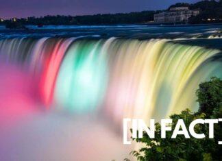 Niagara Falls with colors at night