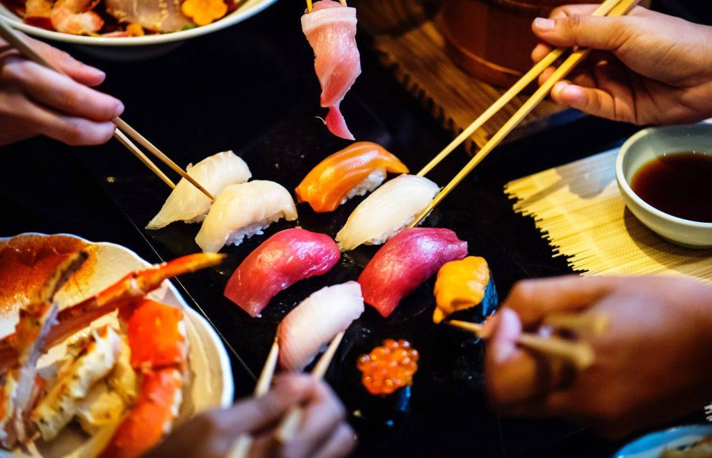 enjoy Japanese sushi when travel to Japan