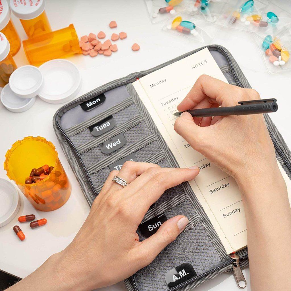 telotravel pill case, a wallet type of travel pill organizer