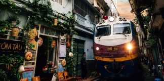 a train passing Hanoi train street
