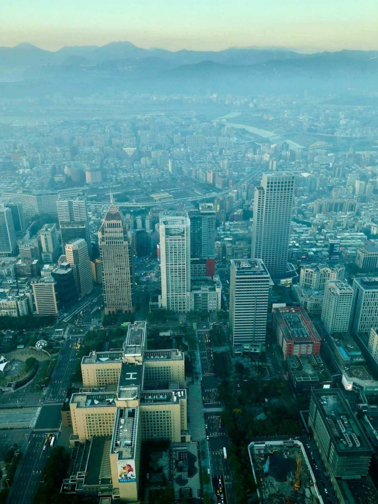 View from above of Taipei in the afternoon