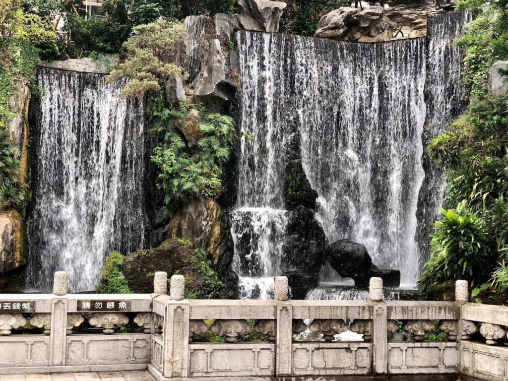 the waterfall inside Lungshan temple