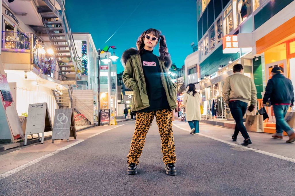A Japanese woman in Harajuku style