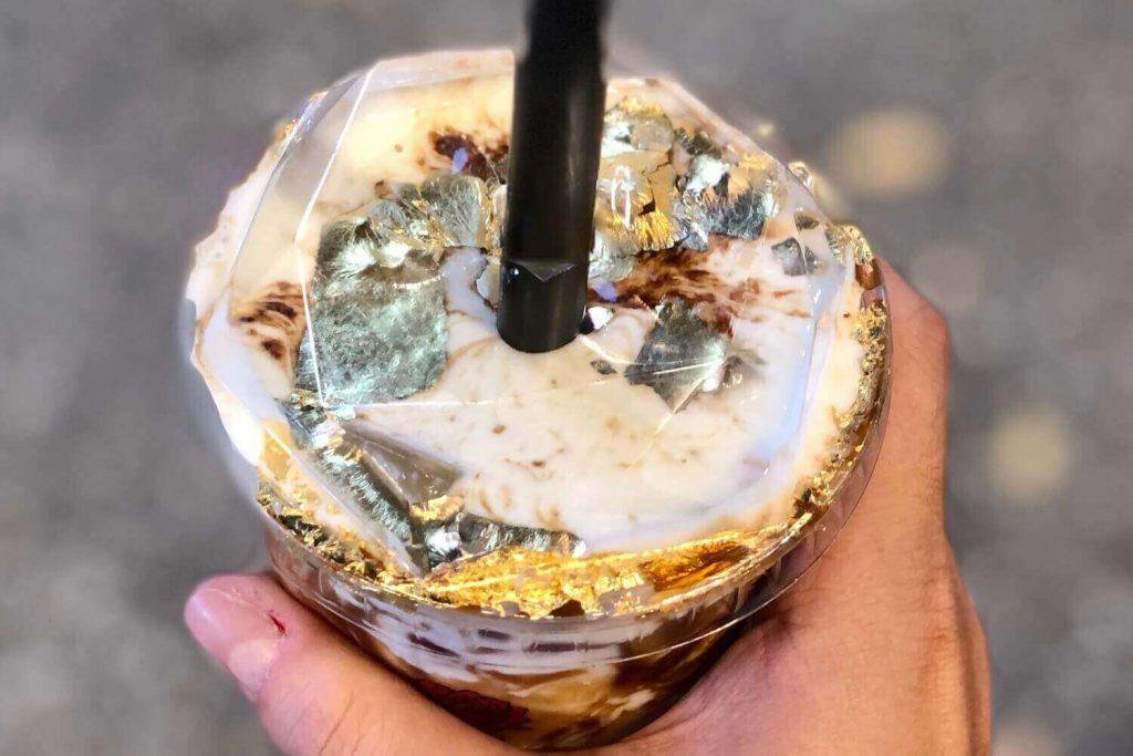 Xing Fu Tang's Gold Foil Brown Sugar Boba Milk Tea