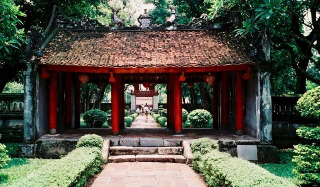 The Great Middle Gate in the first courtyard of the Temple of Literature Hanoi