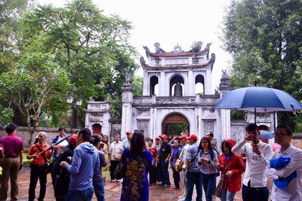 Tourists visit the Temple of Literature