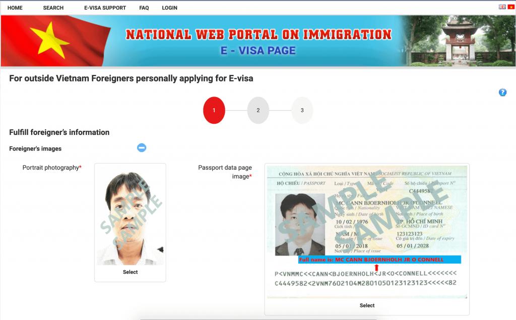 Online application form for Vietnam e-visa
