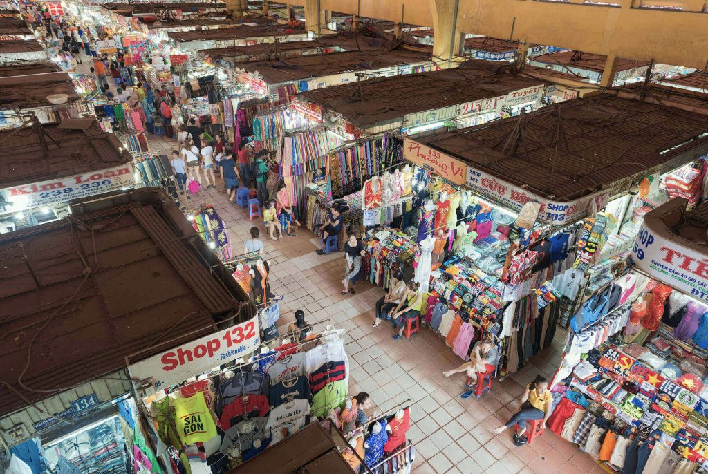 Many stalls inside Ben Thanh Market