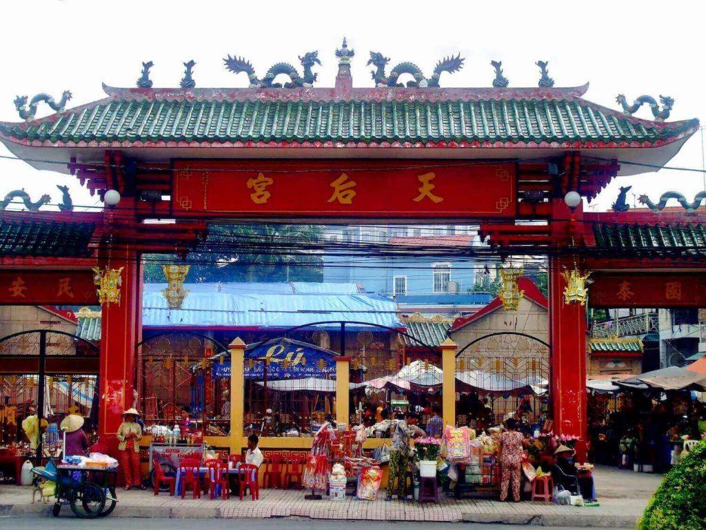 The entrance of Ba Thien Hau Pagoda
