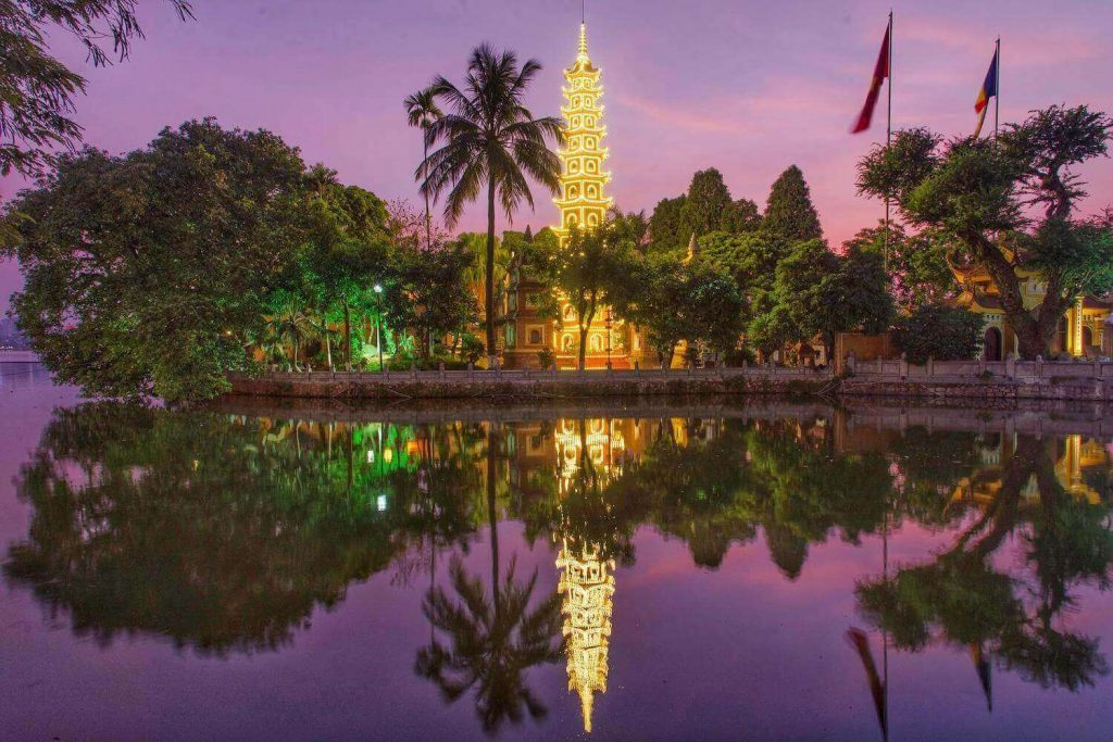 Tran Quoc Pagoda at night, among the well-known pagodas in Vietnam