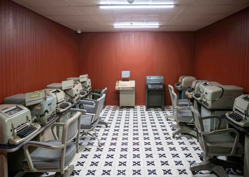 Machines for communication in the basement of the Independence Palace
