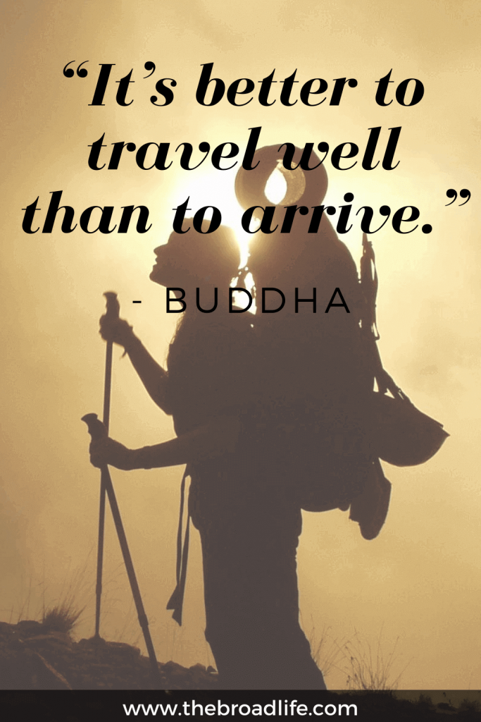 """""""It's better to travel well than to arrive."""" - One of Buddha's inspirational travel quotes"""
