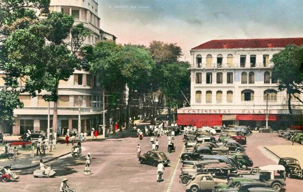 A collected image of Hotel Continental Saigon in early 1950