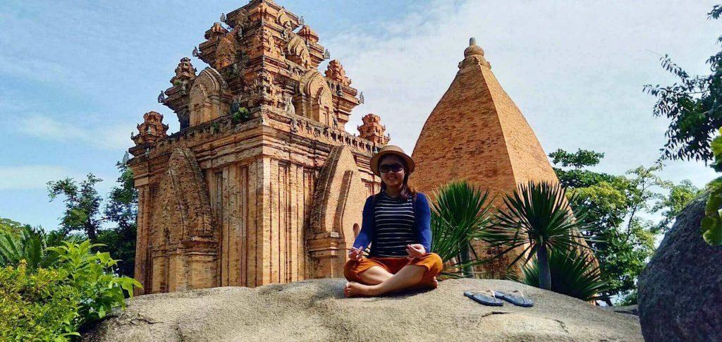 taking pic at Po Nagar Cham Towers in the 5 days 4 nights Nha Trang trip