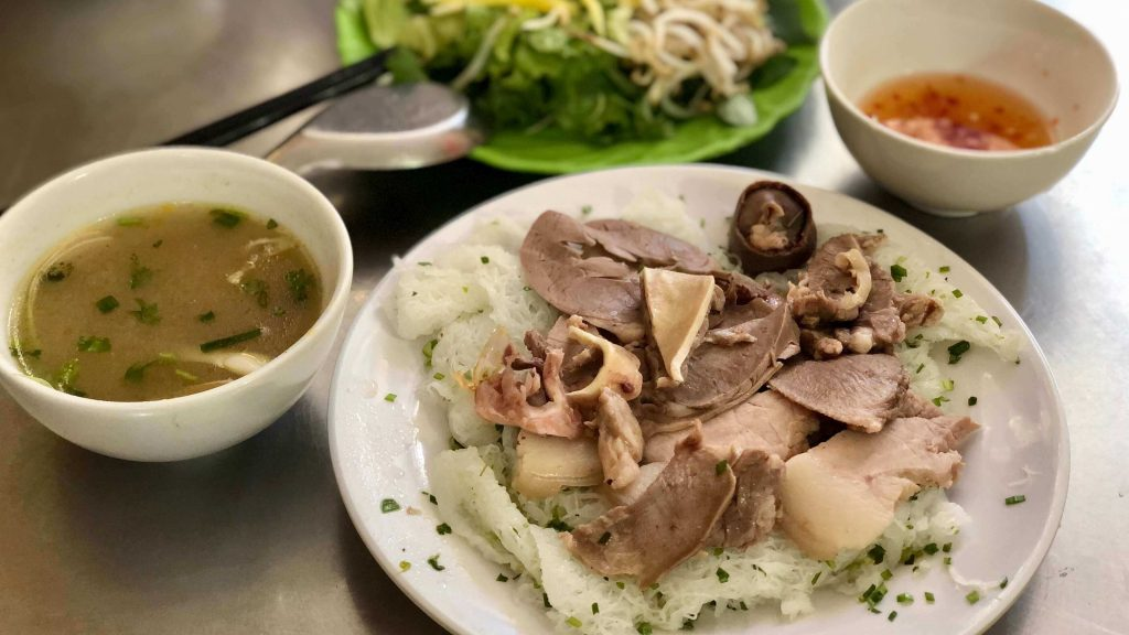 Asking noodle with pork offal or Bánh Hỏi Lòng Heo in Quy Nhon city