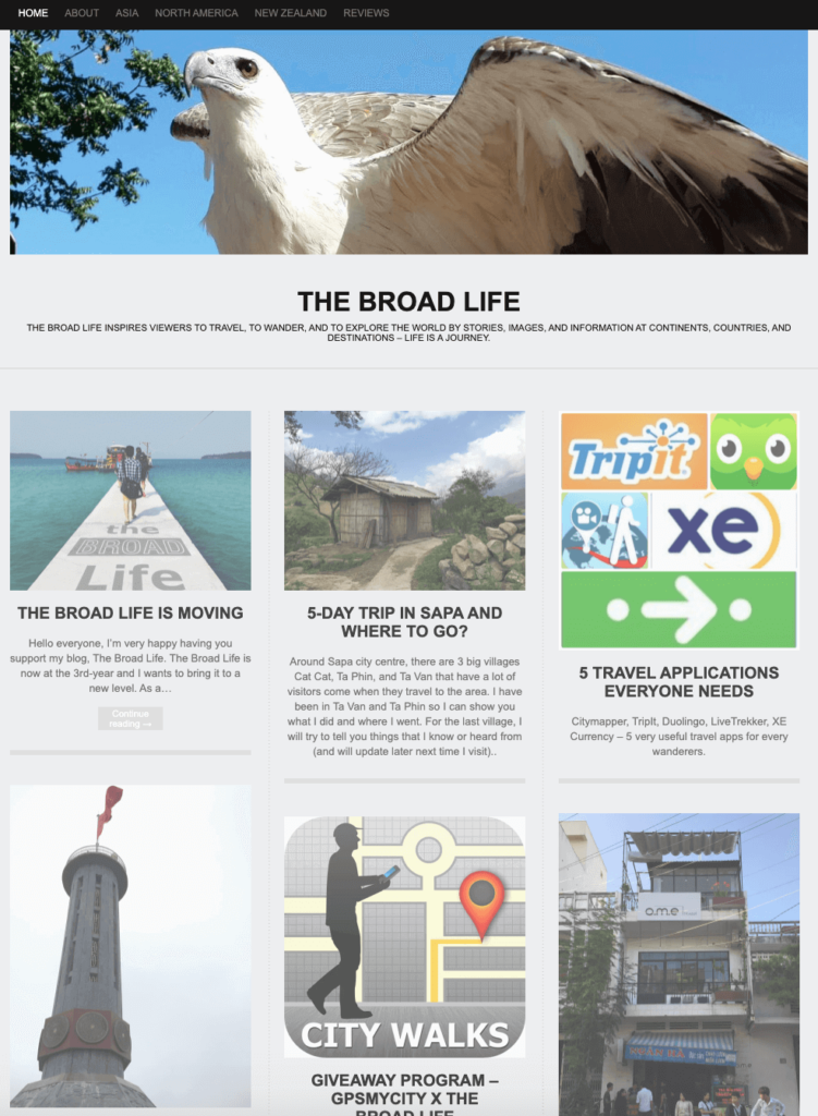 The first version of The Broad Life travel blog - for #howmuchhaveyouchangedchallenge