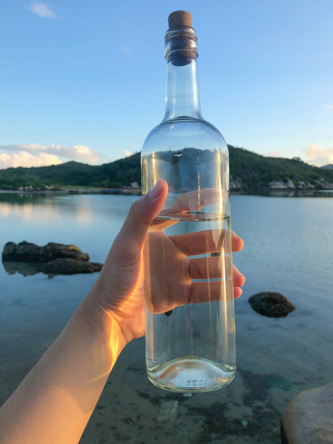 free bottle of water given at the island