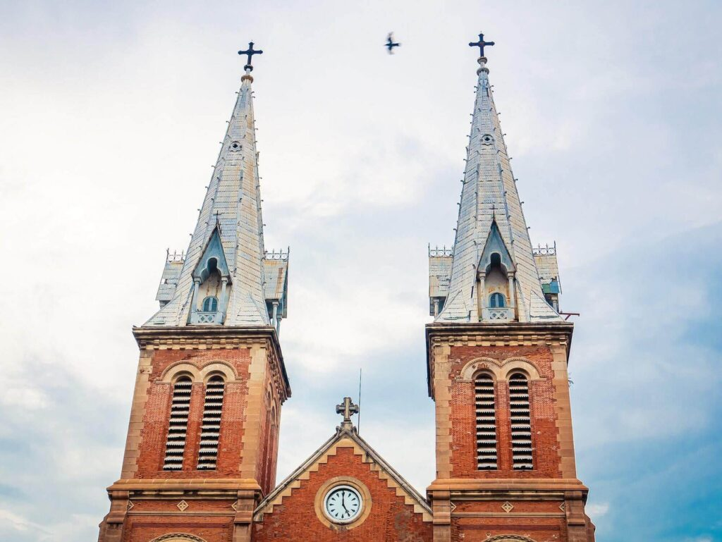 Two bell towers of the central church of Saigon