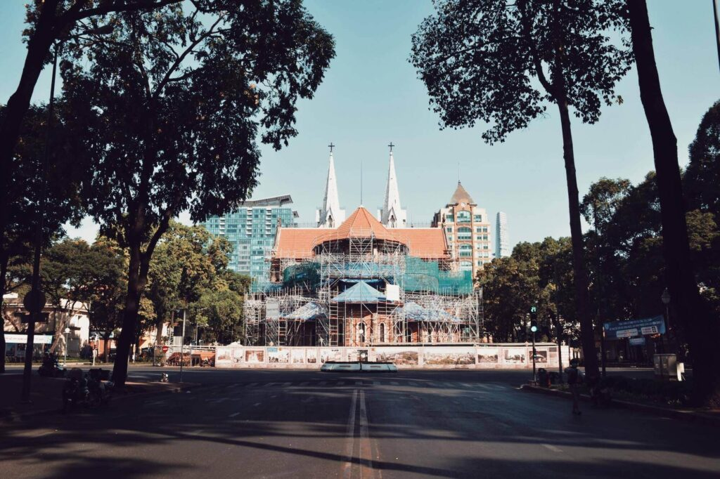 The Notre Dame Cathedral of Saigon is under renovation since 2017