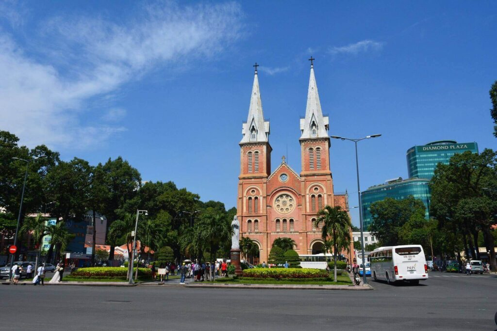 The garden of Saigon Notre Dame Cathedral