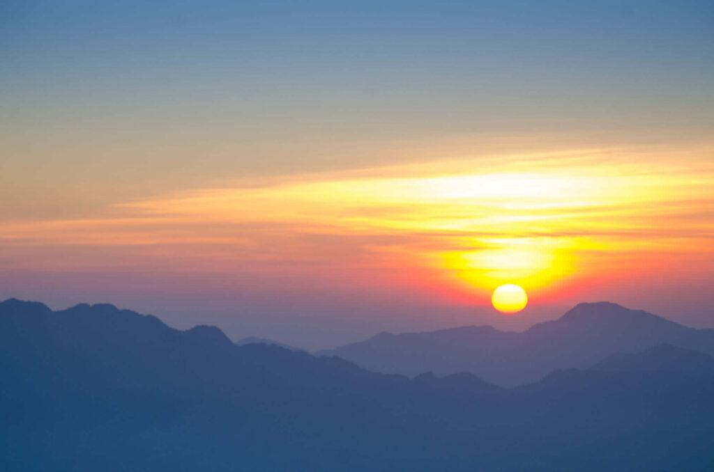 Sun rise above the mountain