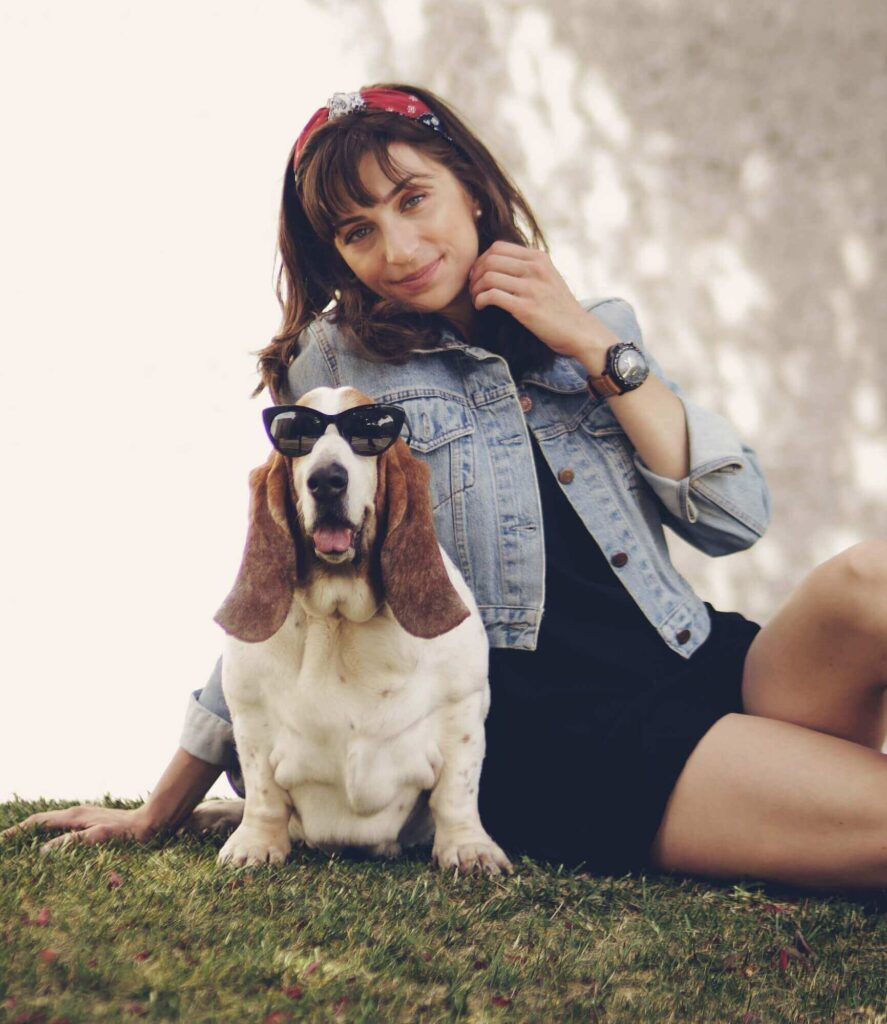 taking photo with a dog while traveling