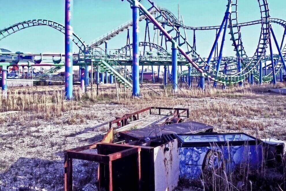 ruined roller coster at the six flags new orleans