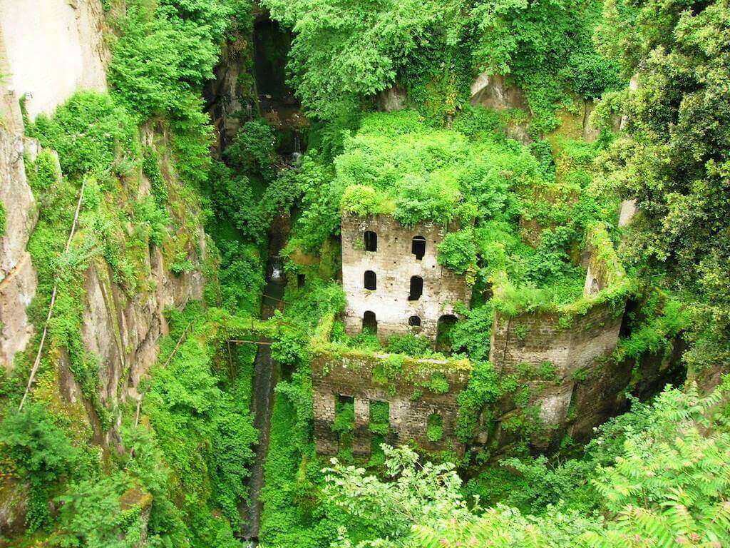 one of the abandoned flour mills in Vallone dei mulini, sorrento, italy