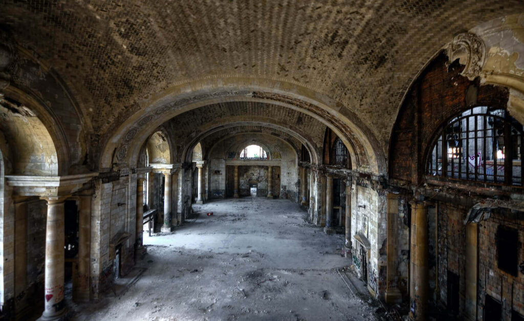 abandoned hallway of michigan central station