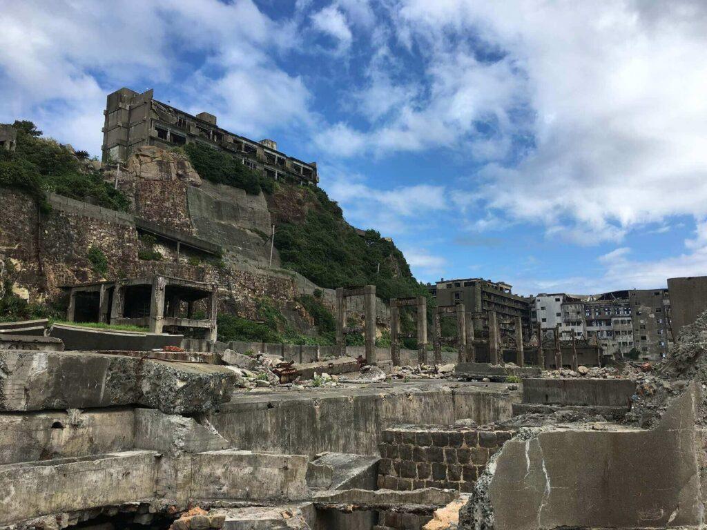 Collapsed and abandoned buildings on Gunkanjima