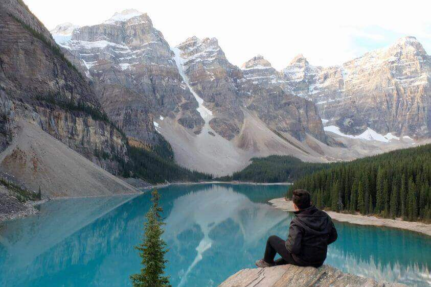 The beautiful Moraine Lake in Banff National Park