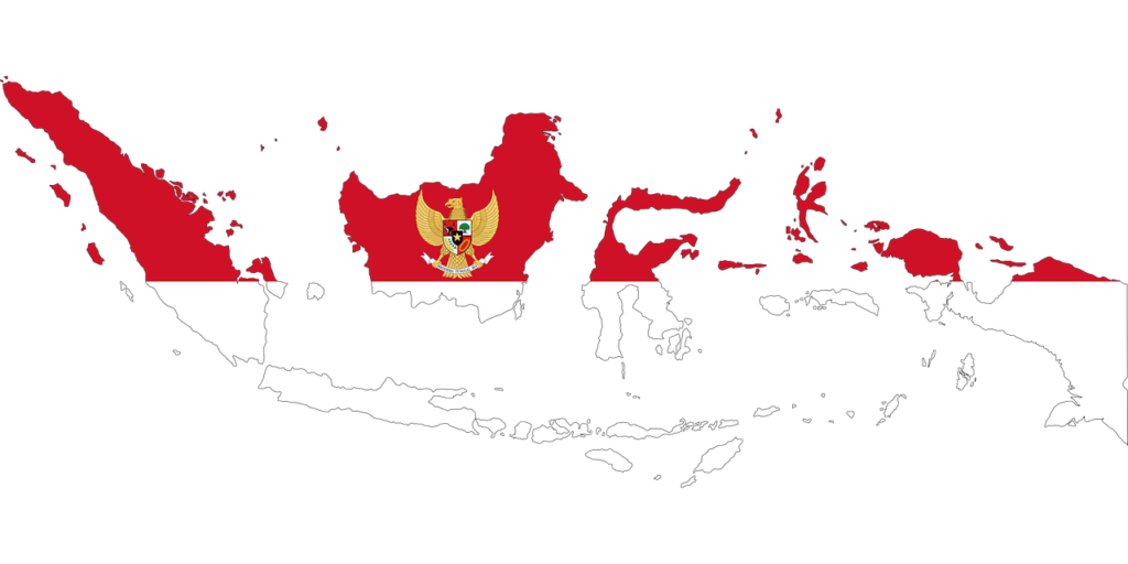 Indonesia map and the national symbol - the Garuda