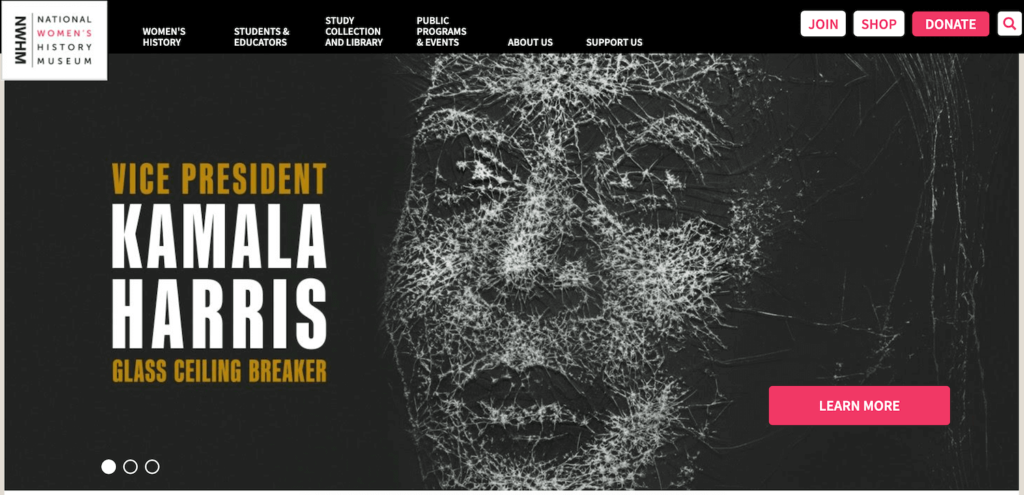 The homepage of National Women's History Museum