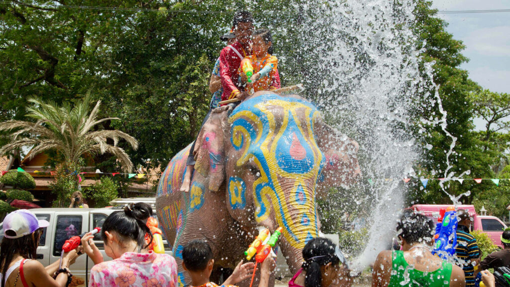 People at Ayutthaya enjoy Songkran Water Festival