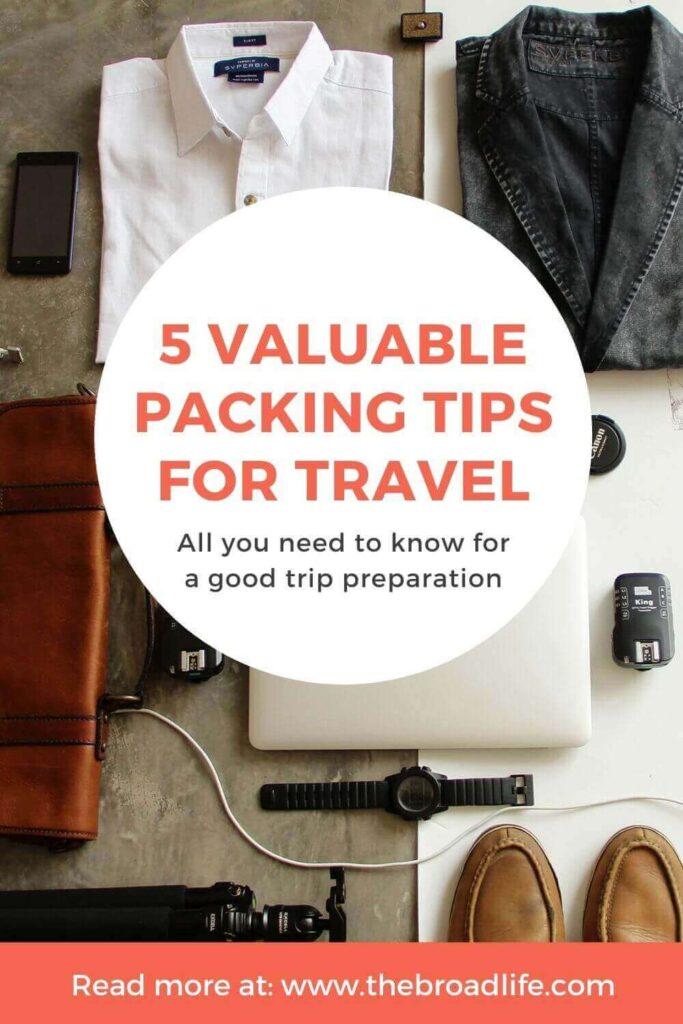 pinterest board of 5 valuable packing tips for travel